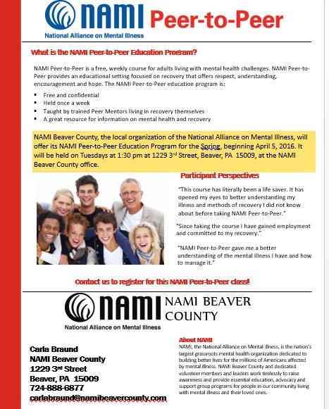 NAMI Beaver County Peer to Peer Class April 2016