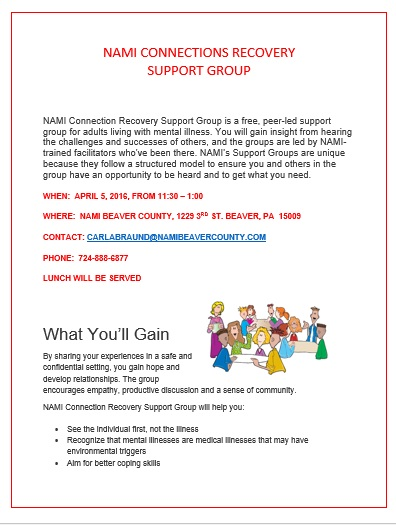 NAMI CONNECTIONS RECOVERY SUPPORT GROUP