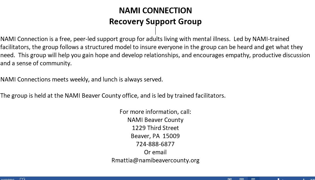 CONNECTIONS REMINDER | NAMI Beaver County